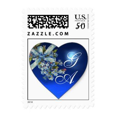 BLUE HEART FORGET ME NOTS WEDDING PARTY MONOGRAM POSTAGE