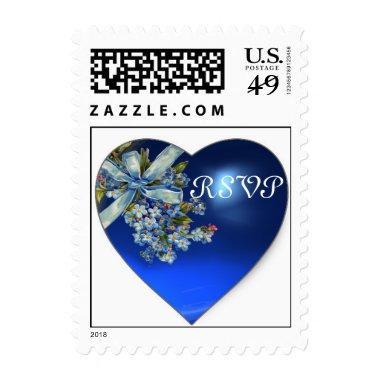 BLUE HEART & FORGET ME NOTS WEDDING PARTY RSVP POSTAGE