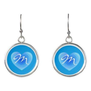 Blue Heart Simple Monogram Girlfriend Wife Bride Earrings