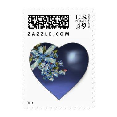 BLUE HEART WITH BOW ,FORGET ME NOTS WEDDING PARTY POSTAGE