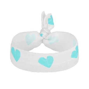 Blue hearts hair ties