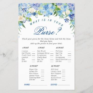 Blue Hydrangea Floral Bridal Shower Game