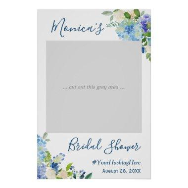 Blue Hydrangea Floral Bridal Shower Photo Booth Poster