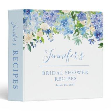 Blue Hydrangea Floral Bridal Shower Recipe Binder