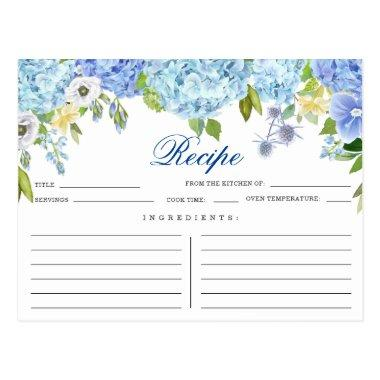Blue Hydrangea Floral Bridal Shower Recipe Invitations
