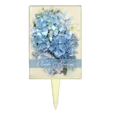 Blue Hydrangea Flower Wedding Cake Topper