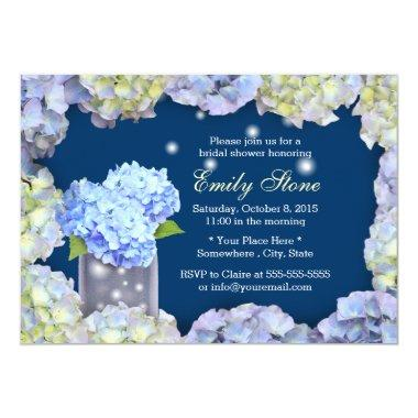 Blue Hydrangea Flowers & Mason Jar Bridal Shower Invitations