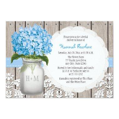 Blue Hydrangea Monogrammed Mason Jar Bridal Shower Invitations