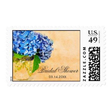 Blue Hydrangea Watercolor Mason Jar  Postage
