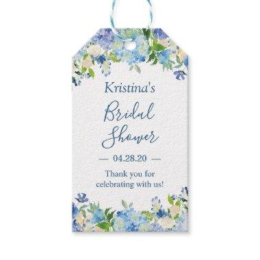 Blue Hydrangeas Floral Bridal Shower Thank You Gift Tags
