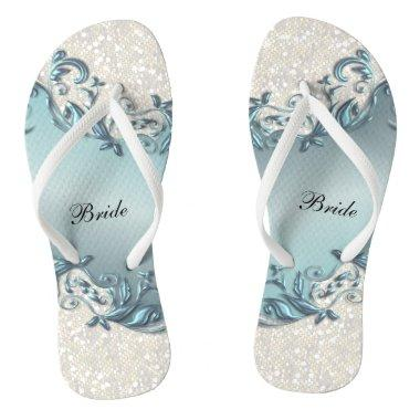 Blue Metallic Floral & Confetti Glitter | Wedding Flip Flops