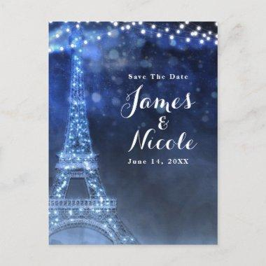 Blue Night in Paris Eiffel Tower Save the Date Announcement PostInvitations