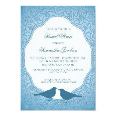 Blue Nouveau Floral Frame  Invite
