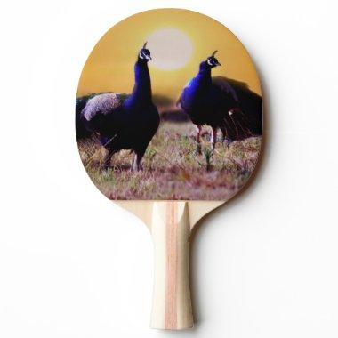 Blue peacocks of happiness Ping-Pong paddle