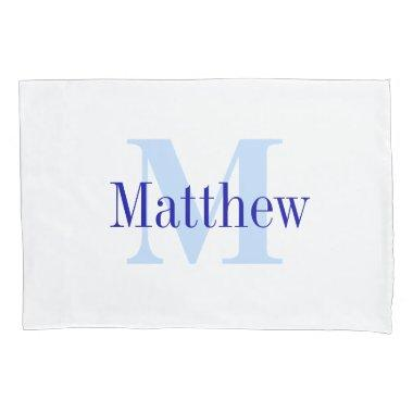 Blue Personalized Monogram Custom Pillow Case