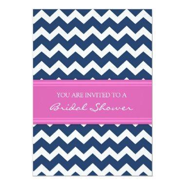Blue Pink Chevron  Invitation