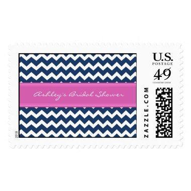 Blue Pink Chevron Bridal Shower Wedding Stamps