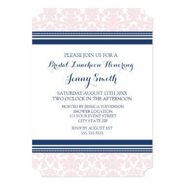Blue Pink Damask Bridal Lunch Invitation Invitations
