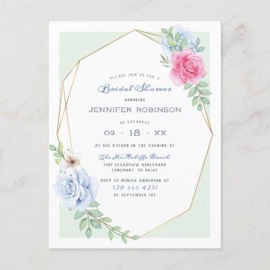 Blue & Pink Watercolor Roses Floral Bridal Shower Invitation PostInvitations