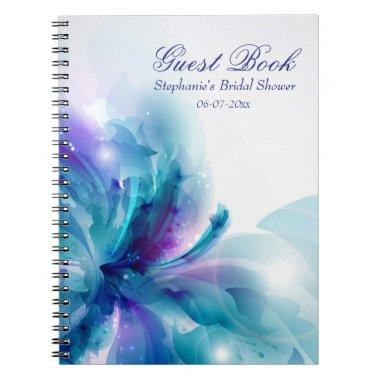 Blue & Purple Abstract Flower Shower Guest Book