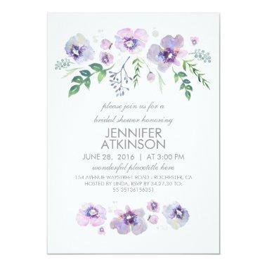 Blue Purple Watercolor Flowers Bridal Shower Invitations