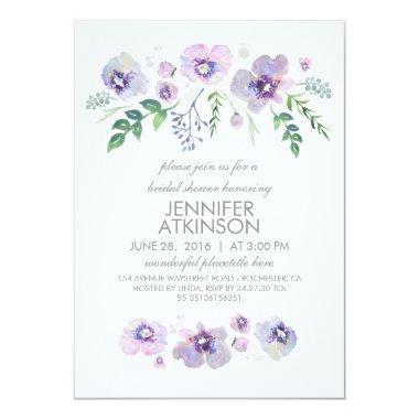 Blue Purple Watercolor Flowers