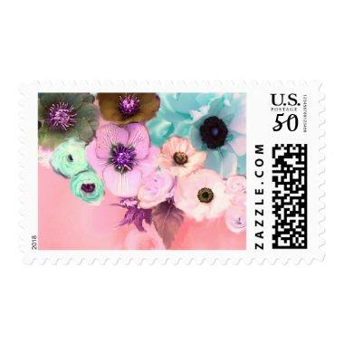 BLUE ROSES AND ANEMONE FLOWERS IN PINK POSTAGE