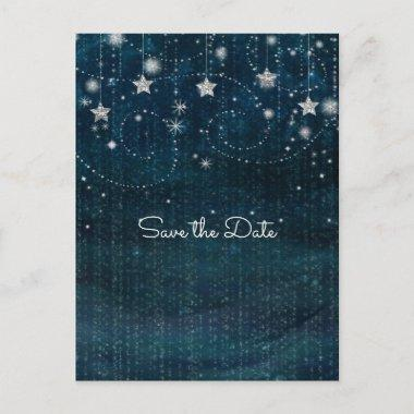 Blue & Silver Starry Whimsical Celestial Announcement PostInvitations