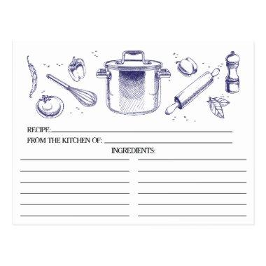 Blue Sketched Kitchen Tools Recipe Invitations