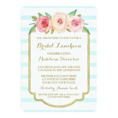 Blue Stripes Gold Pink Floral Bridal Lunch