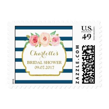 Blue Stripes Pink Floral  Stamps