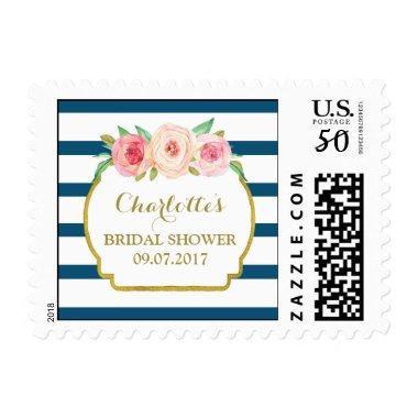 Blue Stripes Pink Floral  Stamps