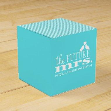 Blue Stripes The Future Mrs. Love Birds Favor Box