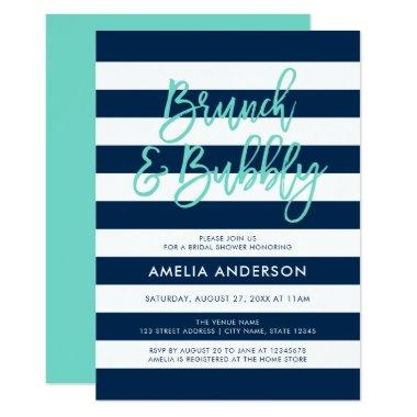 Blue Stripes Turquoise Brunch Bubbly Bridal Shower Invitations