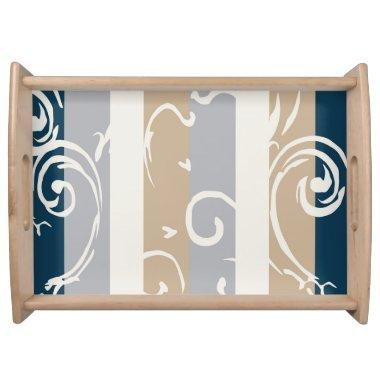 Blue, Tan, and Gray Serving Tray
