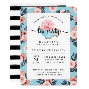 Blue Teacup Tea Party Bridal Shower Invitations