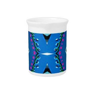 Blue Teal Magenta 'Venice' Tribal Pattern Pitcher