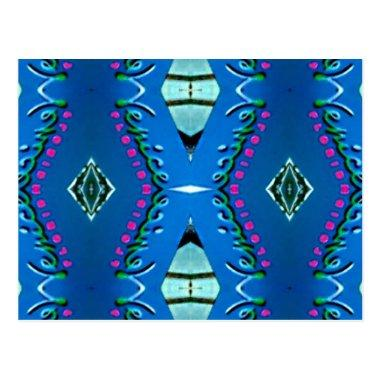Blue Teal Magenta 'Venice' Tribal Pattern Post