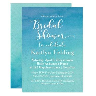 Blue & Teal Ombre Watercolor Bridal Shower Invitations