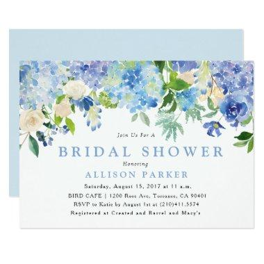 Blue Watercolor Flowers Bridal Shower Invitations
