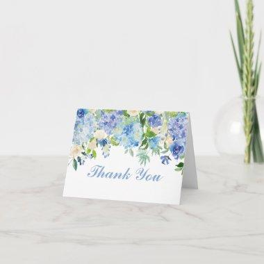 Blue Watercolor Flowers Thank You Note Invitations