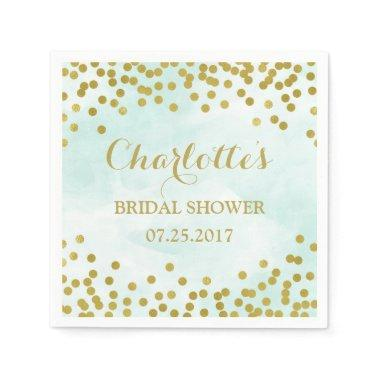 Blue Watercolor Gold Confetti  Napkin