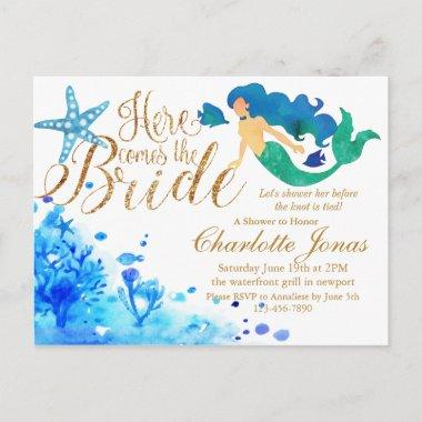 Blue watercolor undersea sweet mermaid golden text invitation postInvitations