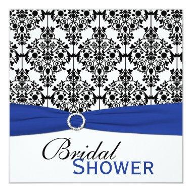 Blue, White, and Black Damask  Invite
