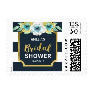 Blue White and Faux Gold Floral  Postage
