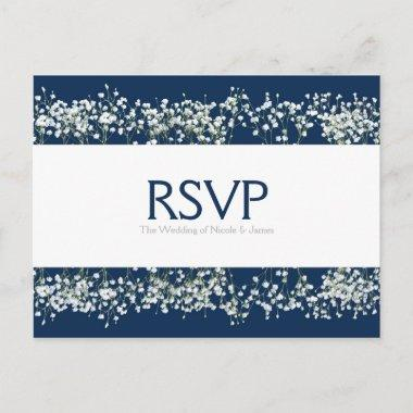 Blue & White Babys Breath Wedding RSVP Card