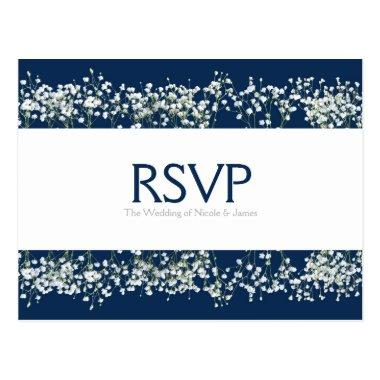 Blue & White Babys Breath Wedding RSVP Card