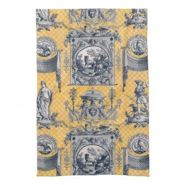 Blue & Yellow Neoclassical Toile French Country Kitchen Towel