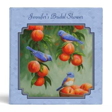 Bluebirds and Peaches Blue 3 Ring Binder