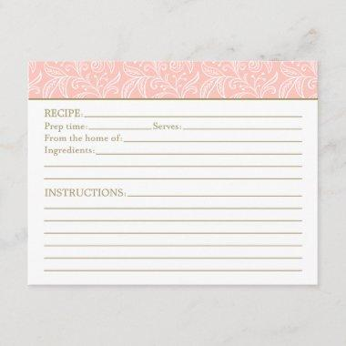Blush and Antique Gold | Bridal Shower Recipe Invitations